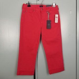 NYDJ red embellished crop jeans size 6 -P1